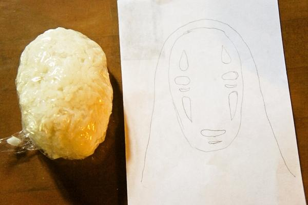 ジブリ弁♪材料二つde千と千尋の神隠しのカオナシの作り方画像1