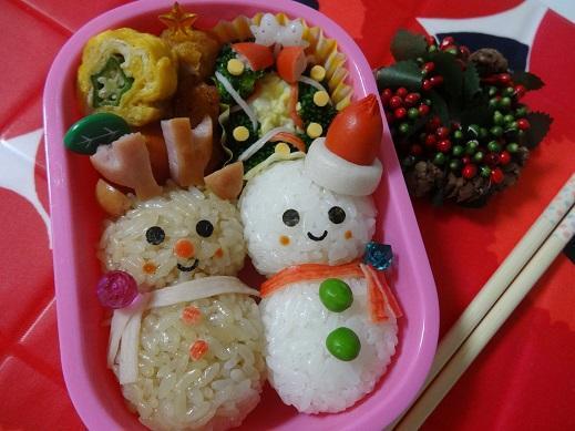 Xmasに☆雪だるま&トナカイだるま弁当