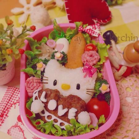 キティちゃんのバレンタイン弁当♡