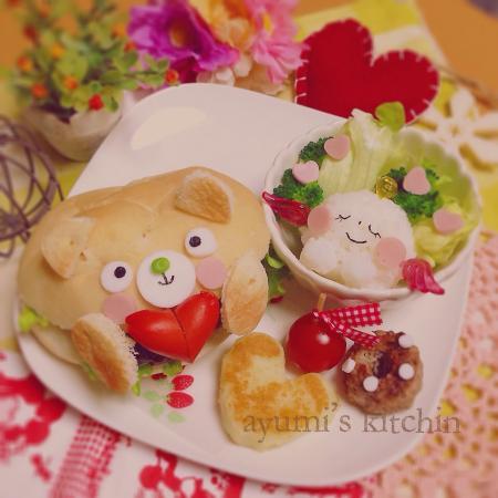 ハンバーガーnaくまちゃんのバレンタインプレート♡