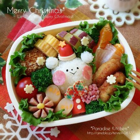 *白くまサンタのクリスマス弁当*