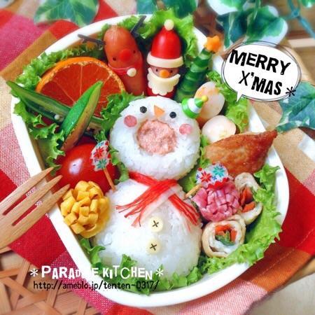 お口あ〜ん♡雪だるまのクリスマス弁当