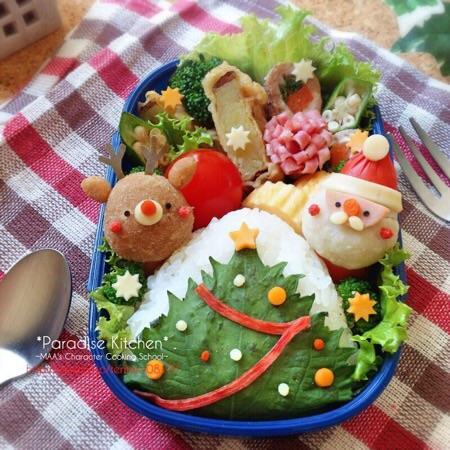 三角おにぎりde大葉ツリーのクリスマス弁当